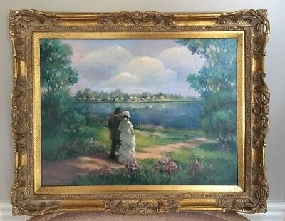 Oil Painting Canvas Signed Framed Gold Landscape Picture Water Trees Bright