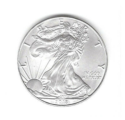 Us 2018 One-Ounce .999 Fine Silver Uncirculated American Eagle Dollar!!