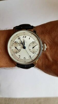 Unique 1930's Omega Chronograph Pocket Watch to Wrist Watch Conversion, Awesome!