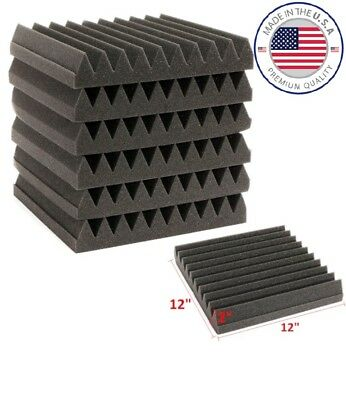 """Acoustic Wedge Studio Soundproofing Foam 12"""" x 12"""" x 2"""" Charcoal (96 Pack) NEW"""