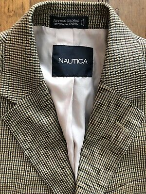 Nautica Mens Size 38R Silk & Wool Houndstooth Sport Coat Blazer Tan Green Brown