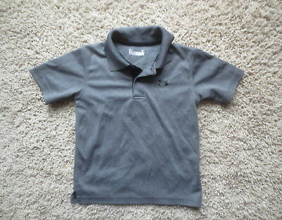 Under Armour Gray/Black Loose Fit Heat Gear Toddler Boy's Polo Shirt Sz 3T