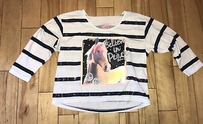 GIRLS TOP JUSTICE Top SHIRT EMBELLISHED SIZE 12 HORSE EUC!