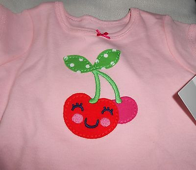 Carters T-Shirt Girl Size 3 Month Pink with Cherry Short Sleeve NEW