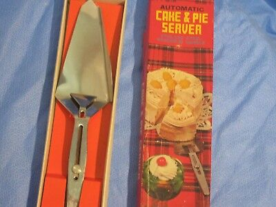 Vintage stainless steel rosewood handle boxed Cake Pie Server automatic Japan