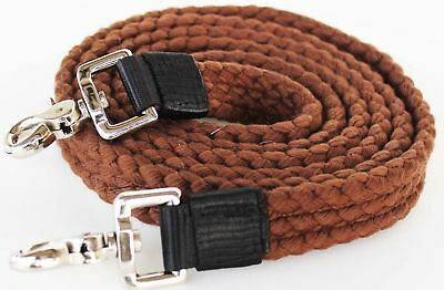 Roping Knotted Horse Tack Western Barrel Reins Cotton Braided Brown 60749