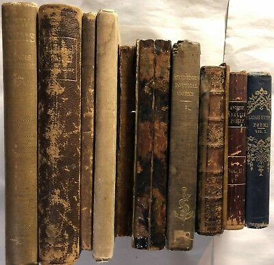 Lot of (10) Antique Vintage Leather Hardcover Poetry Poems Books 1819-1923