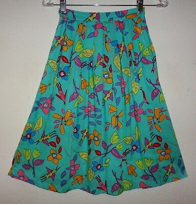GIRLS VINTAGE 80s ESPRIT KIDS SKIRT FLORAL DRESS NEW WAVE MOVIE STUDIO PROMO