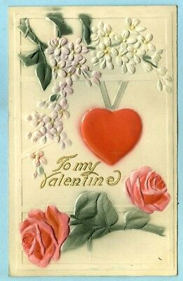 """Heavily Embossed, Hand Colored, """"To My Valentine"""", Pink Roses, Flowers, Heart..."""