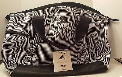 5428ea00d6eb ADIDAS STUDIO II Duffel Optic Stripe/Black Gym Duffel NEW