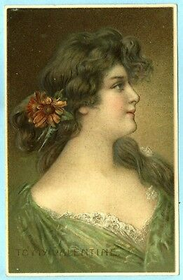 """Embossed, """"TO MY VALENTINE"""", Beautiful Long Haired Lady with Daisies in Her Hair"""