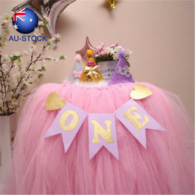 Bunting Baby Shower High Chair Decorations Gold Glitter 1st Birthday One Banner