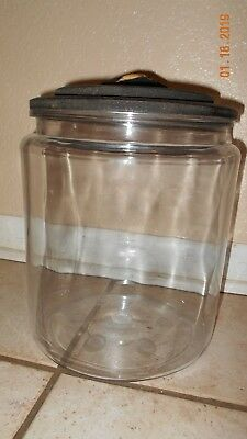 """Large Vintage Clear Glass  2 1/2 Gallon Jar With Lid - 13 1/2"""" Tall"""