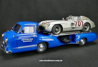 Mercedes-Benz Renntransporter + 300 SLR #701 Dirty Hero CMC M-163  1/18 NEU&OVP