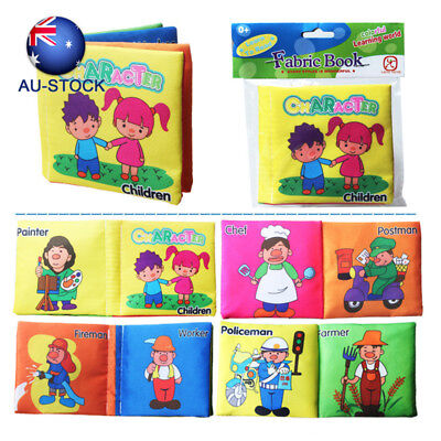 AU STOCK Baby Learning Animals Food Infant Early Educational Books Cloth Cartoon