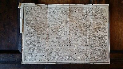 1760 Original Copper Plate Antique Map West Bohemia Prague Czech  - John Gibson