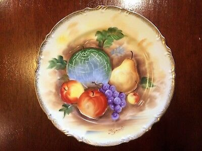 Signed Collectable Painted Fruit Plate - Excellent Condition