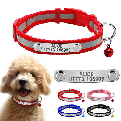Reflective Personalised Small Dog Collars Pet Puppy Collar & Bell Chihuahua XS S
