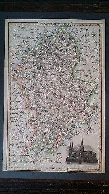 1830's James Pigot County Map Of Staffordshire - Hand Tinted - Antique Original
