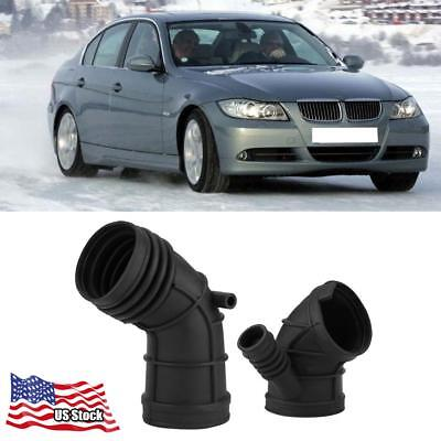 New  2 Pcs Throttle Body Air Intake Boot Hose For BMW 13541438759+13541438761