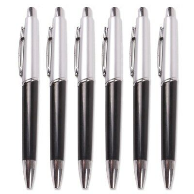 6x SILVER & BLACK RETRACTABLE BALL POINT PENS Stylish Blue Ink Biro Stationery