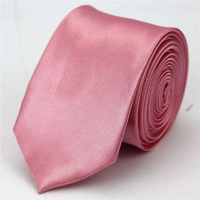 Mens Street Fashion Slim Tie Business Party Necktie Skinny Dark Pink Ties Men