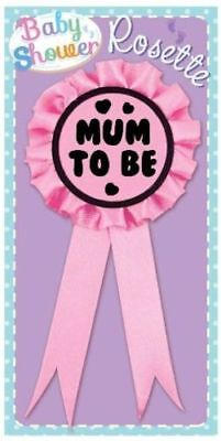 ** Mum To Be Pink Badge Rosette Girl Baby Shower Party Celebration New **