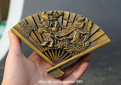"6.3"" Chinese Bronze Ancient Figure People Make Painting Incense Burner Censer 画"