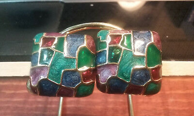 """Vintage Jewelry:1"""" Colorful Clip On Earrings 01-23-2019"""