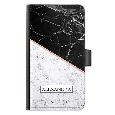 Personalised Initials Name Leather Phone Case Black Marble Slice Side Flip Cover