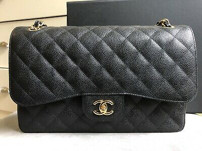 8250b788aa42f7 100% Authentic Chanel Jumbo Black Caviar Classic Double Flap Bag gold  hardware