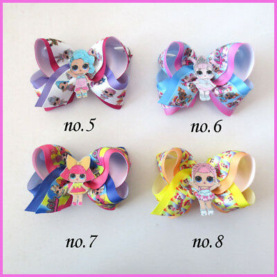 """20 BLESSING Girl Popular 4"""" Two Tone ABC Hair Bow Clip L.O.L Doll Rainbow Baby"""