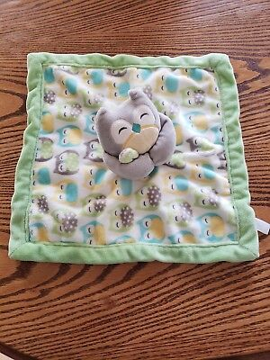 Carters Owl Baby Security Blanket Lovey Lime Green Gray Yellow Blankie 14X14 EUC