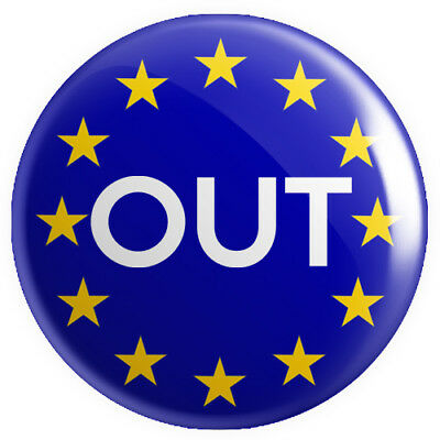 Out (Leave Brexit) BUTTON PIN BADGE 25mm 1 INCH UK Europe EU Flag Referendum