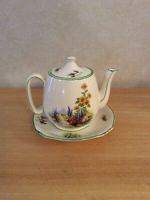 Grimwades Royal Winton Ivory England Teapot With Lid & Saucer Green Trim Flowers