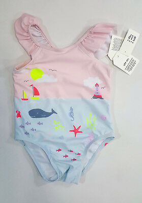 90be9dc595ee4 NWT Baby Gap Girls Size 6 12 18 24 Months Beach Whale Scenic Bathing Suit  Swim