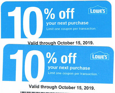 TWO 2 Lowes 10% off Coupons, For Use Only at Home Depot, expiry Oct 15th  2019