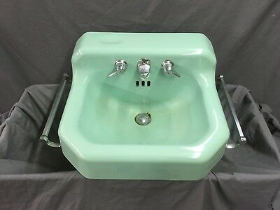 Vtg  Cast Iron Jadeite Ming Green Porcelain MCM Bathroom SInk Towel Bars 25-19E