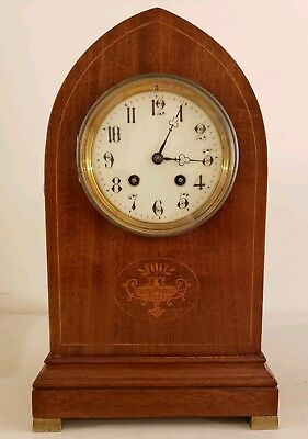 Antique Working French Victorian Inlaid Mahogany Gothic Tombstone Mantel Clock