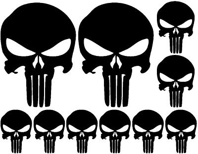 10 pack of Punisher Skull Vinyl Decal Window Stickers, Choose Color! buy 2 get 1