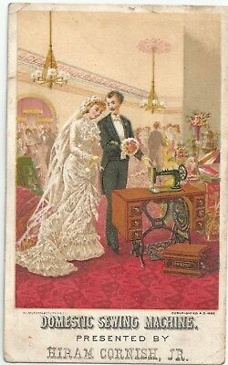 1880s Domestic Sewing Machine Hiram Cornish Newfield NY Victorian Trade Card
