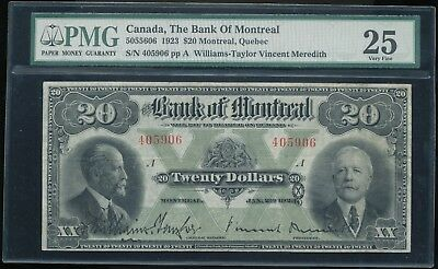 1923 Canada, The Bank of Montreal $20 Note Williams-Taylor/Meredith Sigs. PMG 25