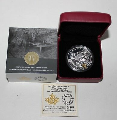 2015 Canada Fine Silver $20 Wwi 2Nd Battle Of Ypres Proof Coin W/ Box & Coa Nr