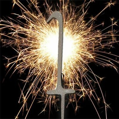 1 One Number Sparkler Birthday Cake Age - Number 1 Silver Party Candle