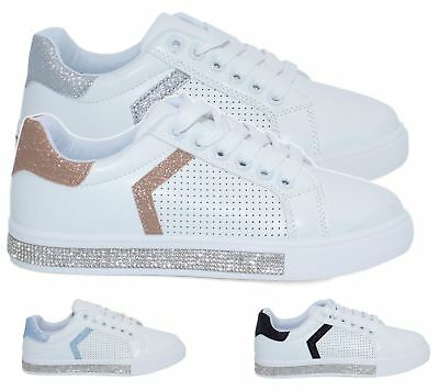 e864275af Womens Trainers Ladies Lace Up Running Fitness Sports Diamante Glittery  Shoes