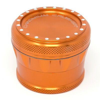 Chromium Crusher Drum V2 New Grip 2.75 Inch 4 Piece Tobacco Herb Grinder -Orange