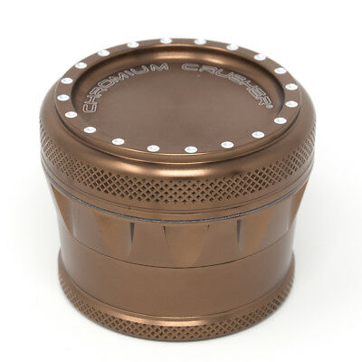 Chromium Crusher Drum V2 New Grip 2.75 Inch 4 Piece Tobacco Herb Grinder - Brown