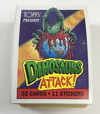 1988 Topps Dinosaurs Attack Complete Card/Sticker Set (55Cards,11Stickers) LB5