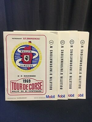 Rare Lot Bulletin Information Rallye TOUR DE CORSE 1969