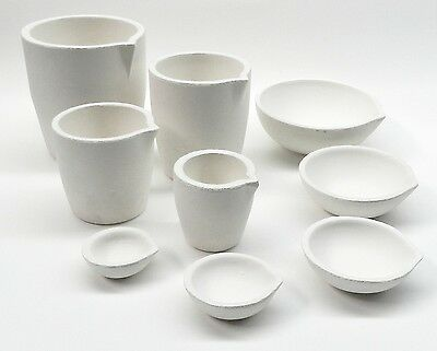 9 Melting Crucibles Cups & Dishes Ceramic Silica Melt Gold Silver Set 9 Sizes A1